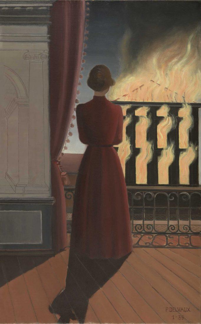 Evian Paul Delvaux, Sans titre (L'Incendie), 1935