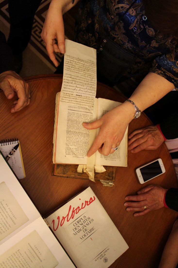 Saint-petersbourg Bibliothèque de Voltaire annotation de Voltaire
