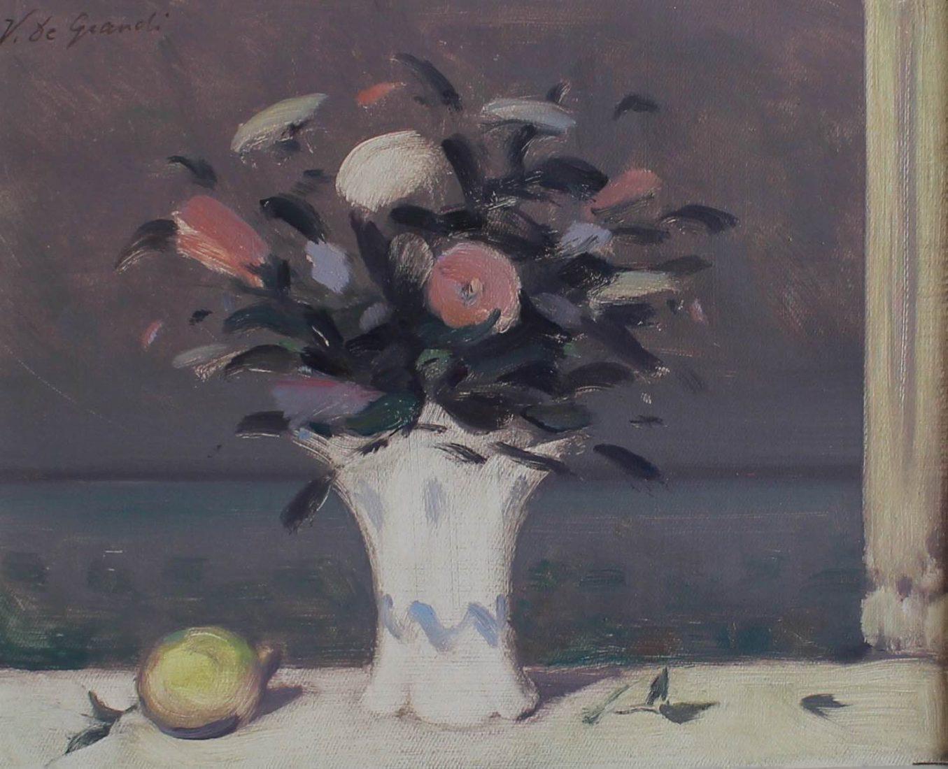 Vincent De Grandi : Bouquet et citron - huile sur toile