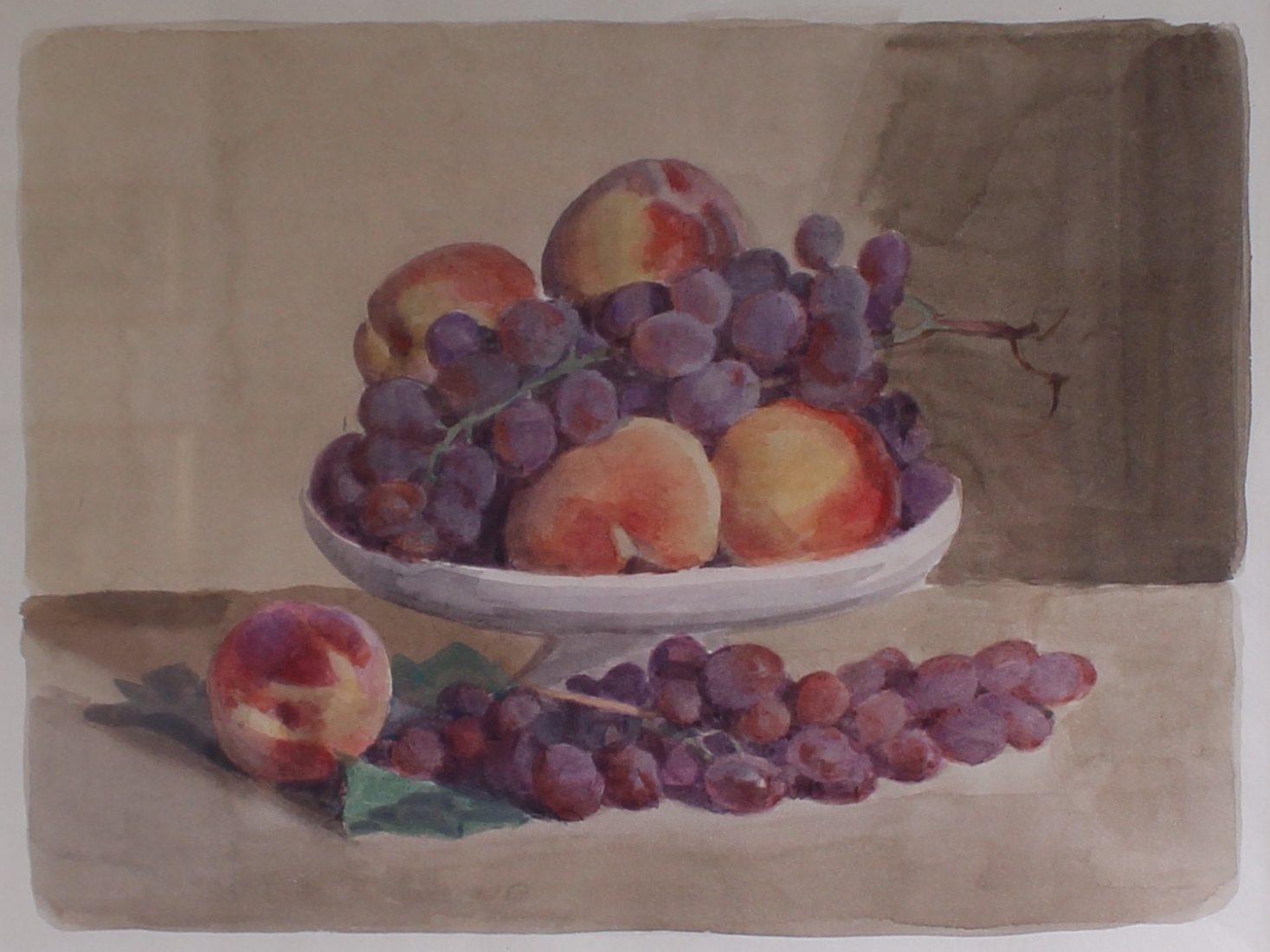 Italo De Grandi : Pêches et raisin - aquarelle sur papier