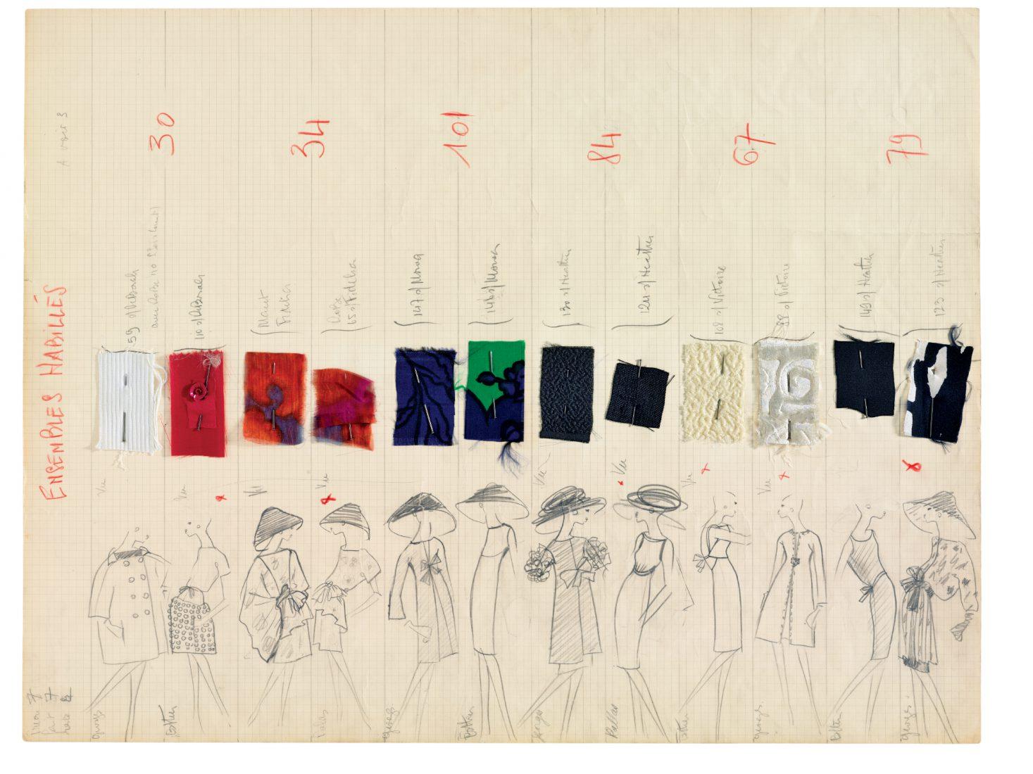 Musée Yves Saint Laurent Paris Planche de collection Printemps-été 1962 / Luc Castel