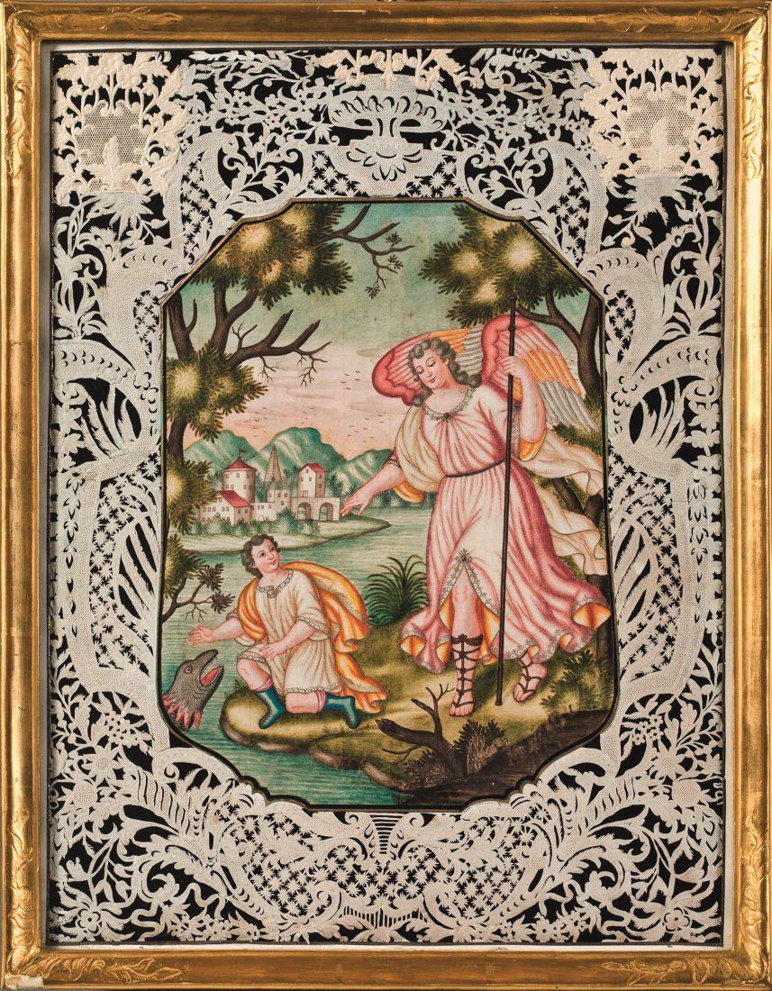 Anonyme, Tobias et l'archange Raphaël, Aquarelle et papier découpé, © MAHF / Primula Bosshard