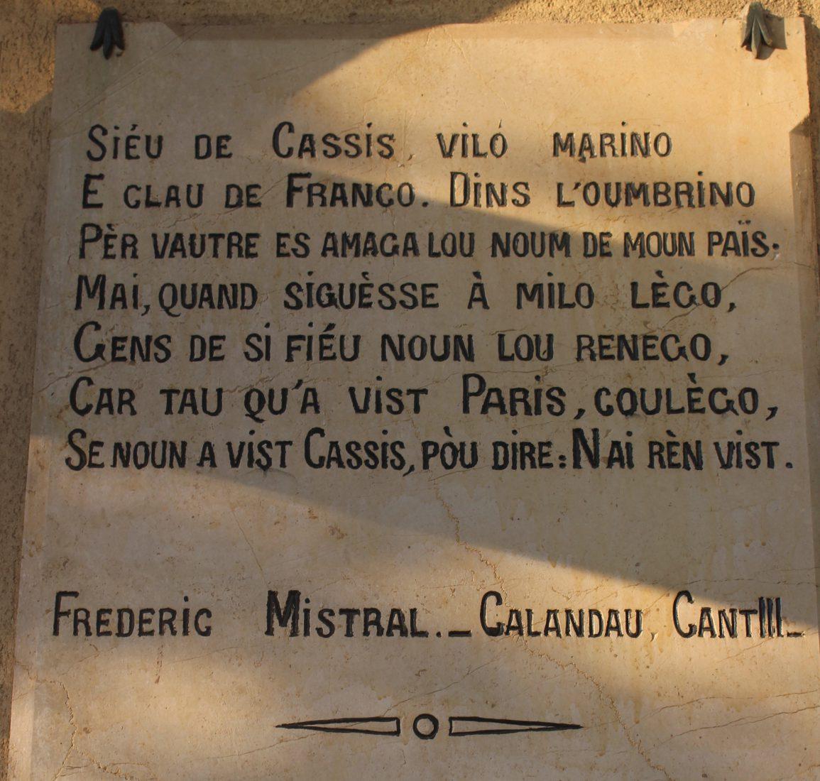 gare de Cassis poème de Frederic Mistral Se noun a vist Cassis