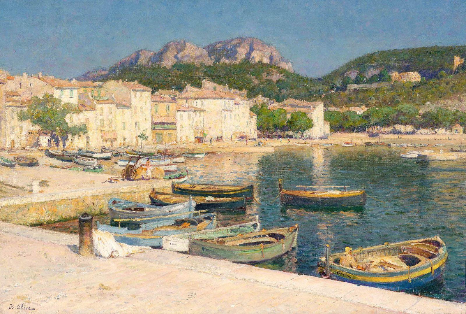 Tableau :Jean Baptiste OLIVE6-Port de Cassis. Collection particulière.photo: Aleksander Rabzuck)