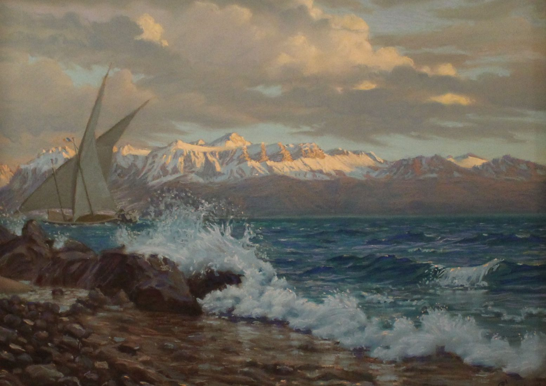 Eugène Crasset - Lac Léman en hiver. Pastel