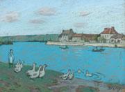 Alfred Sisley - Les oies au bord du Loing,