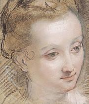 Hermitage Lausanne Pastel -Federico Barocci - Tête de jeune femme.