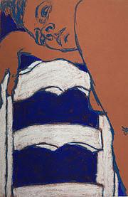 George Segal-Jeune femme à la chaise, 1964. Pastel