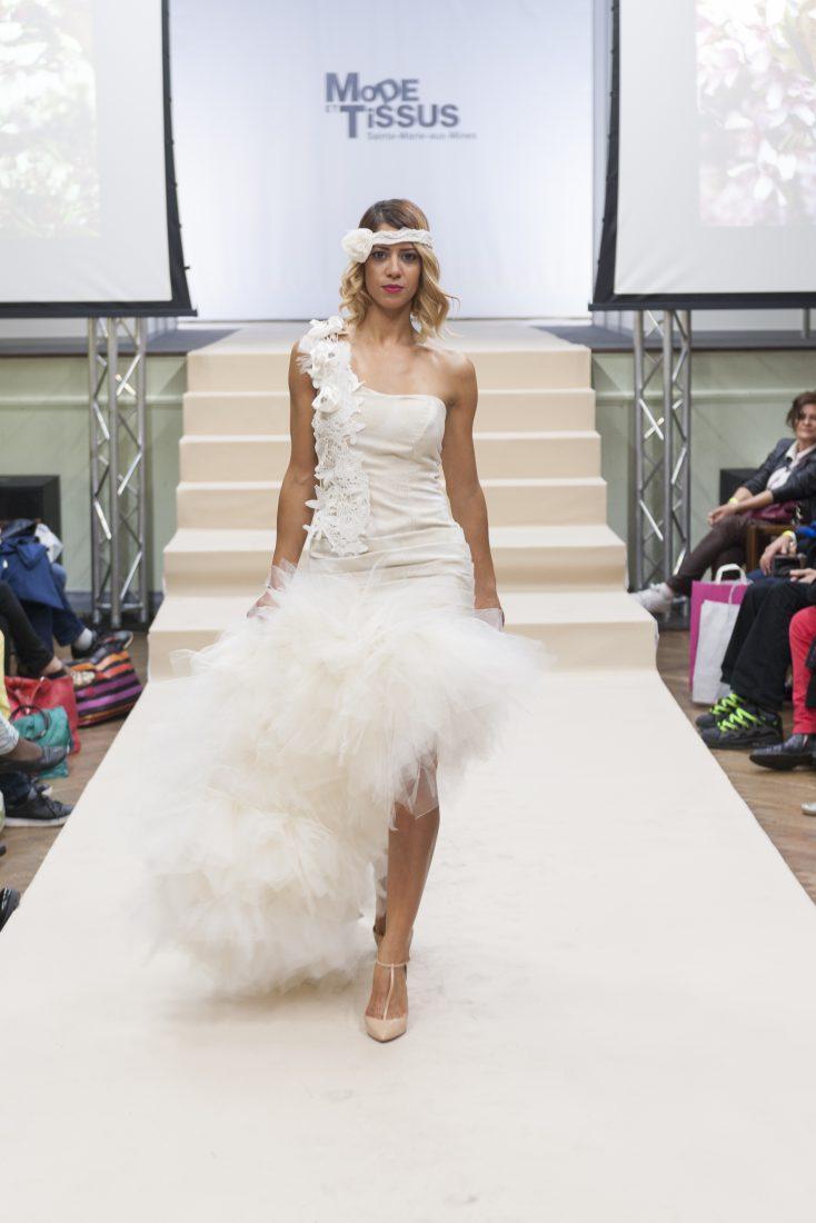 Ste Marie-aux-Mines salon Mode et tissus 2018 défilé robe avec fourrure