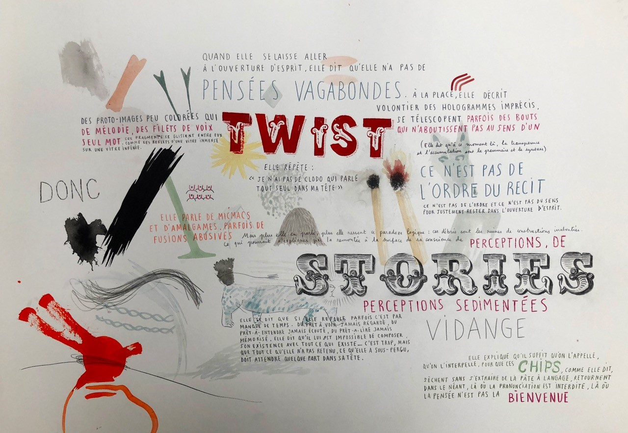 Nelly Maurel, Twist stories, 2018, 70x50cm, encre et crayon sur papier.