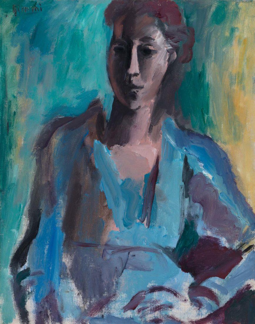 Portrait de jeune femme (Fernande) à la robe bleue Wilhelm Gimmi