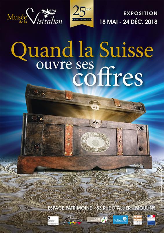 Affiche exposition Moulins quand la Suisse ouvre ses coffres