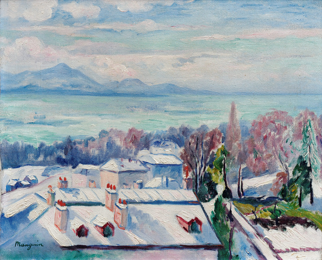 """Manguin, """" Lausanne sous la neige"""""""