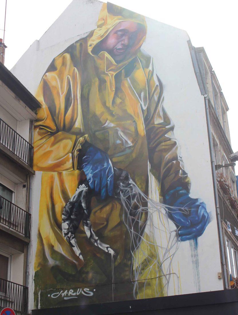 Boulogne-sur-Mer Fresque Art Urbain pêcheur