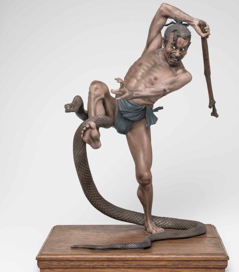 Homme attaqué par un serpent, Japon, Musée d'ethnographie, Genève