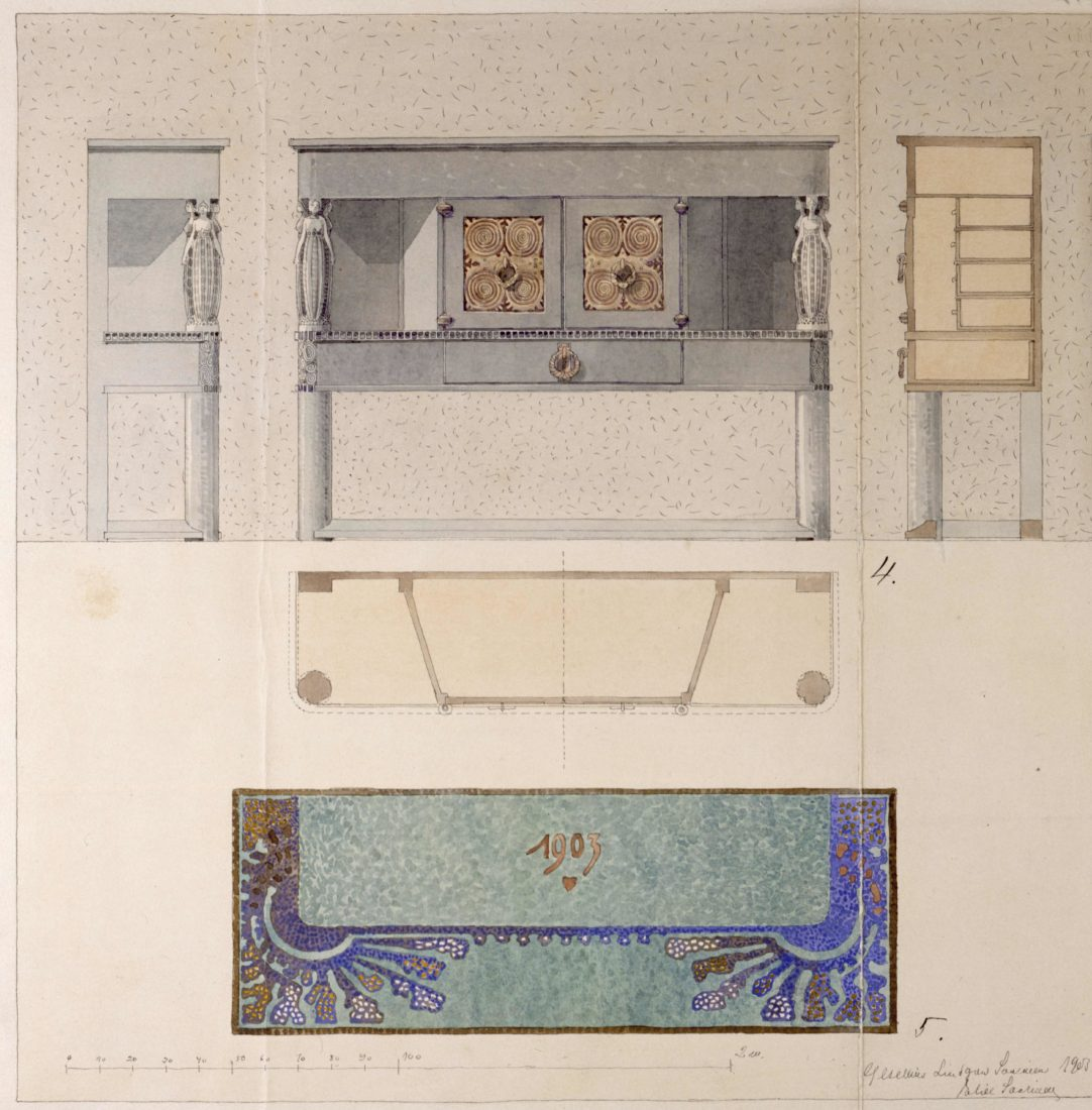 Eliel Saarinen : projet pour le buffet  de la grande salle du manoir de Suur-Merijoki