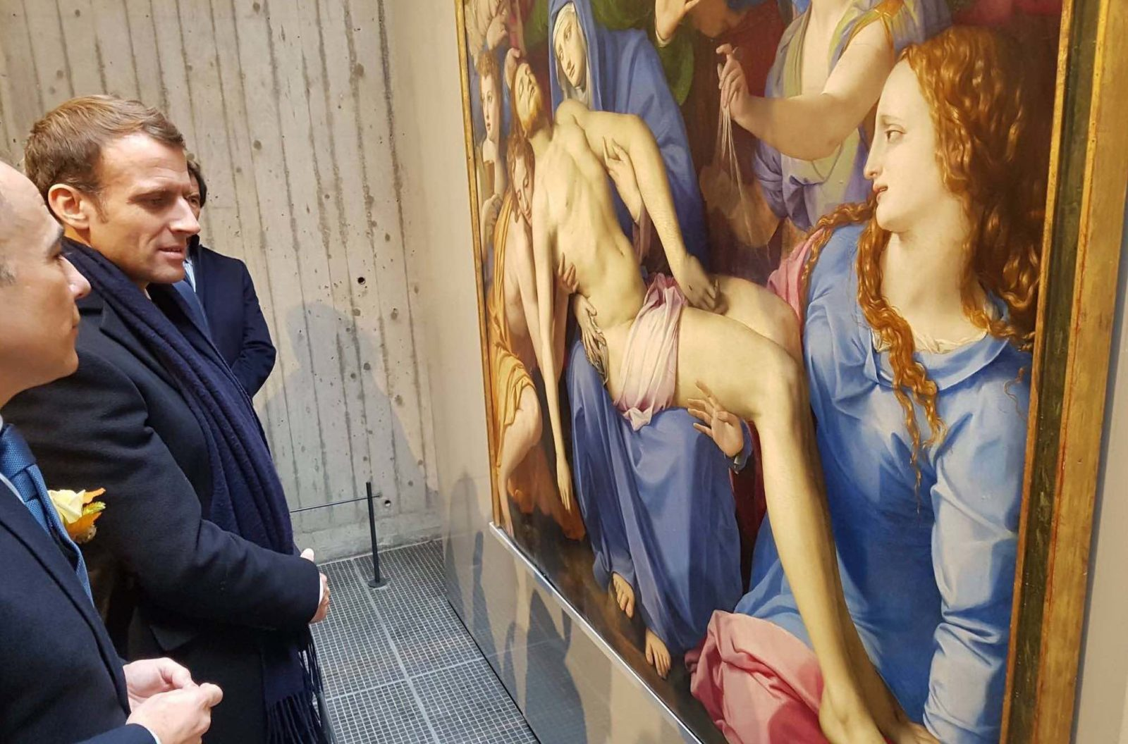 mbaa Besançon inauguration 2018 E. Macron devant tableau