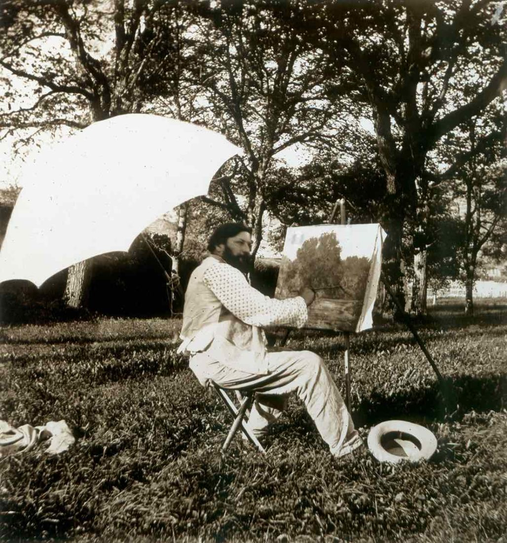 Eugène Feyen,Courbet peignant dans le parcdu séminaire d'Ornans,