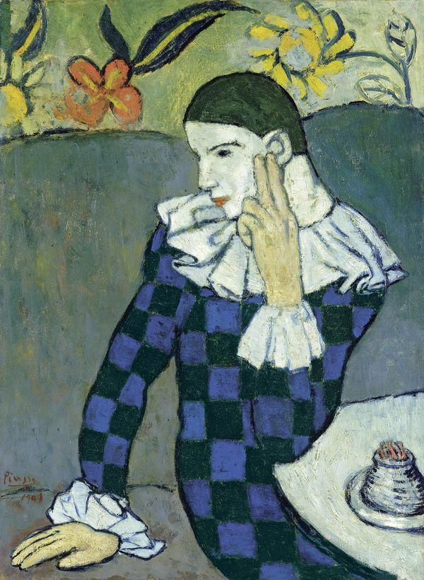 Exposition Le jeune Picasso période bleue et rose. Riehen. Arlequin assis