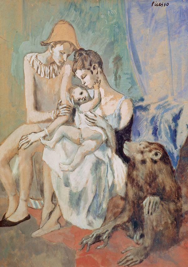 Exposition Le jeune Picasso. Riehen. famille de saltimbanques avec un singe