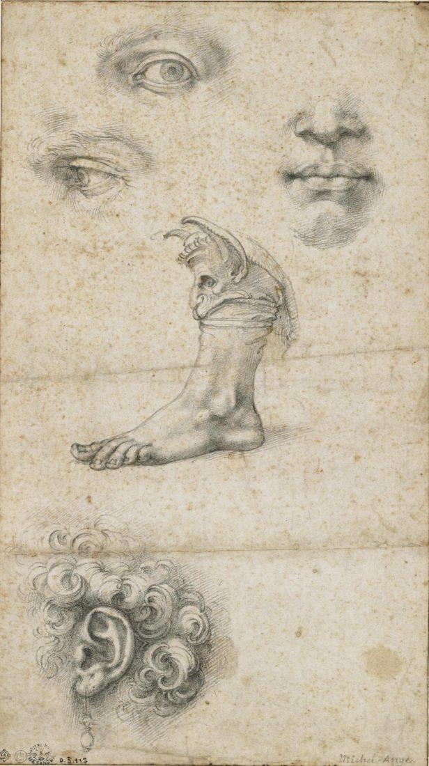 mbaa Besançon Anonyme, d'après Michelangelo Buonarotti, feuille d'études