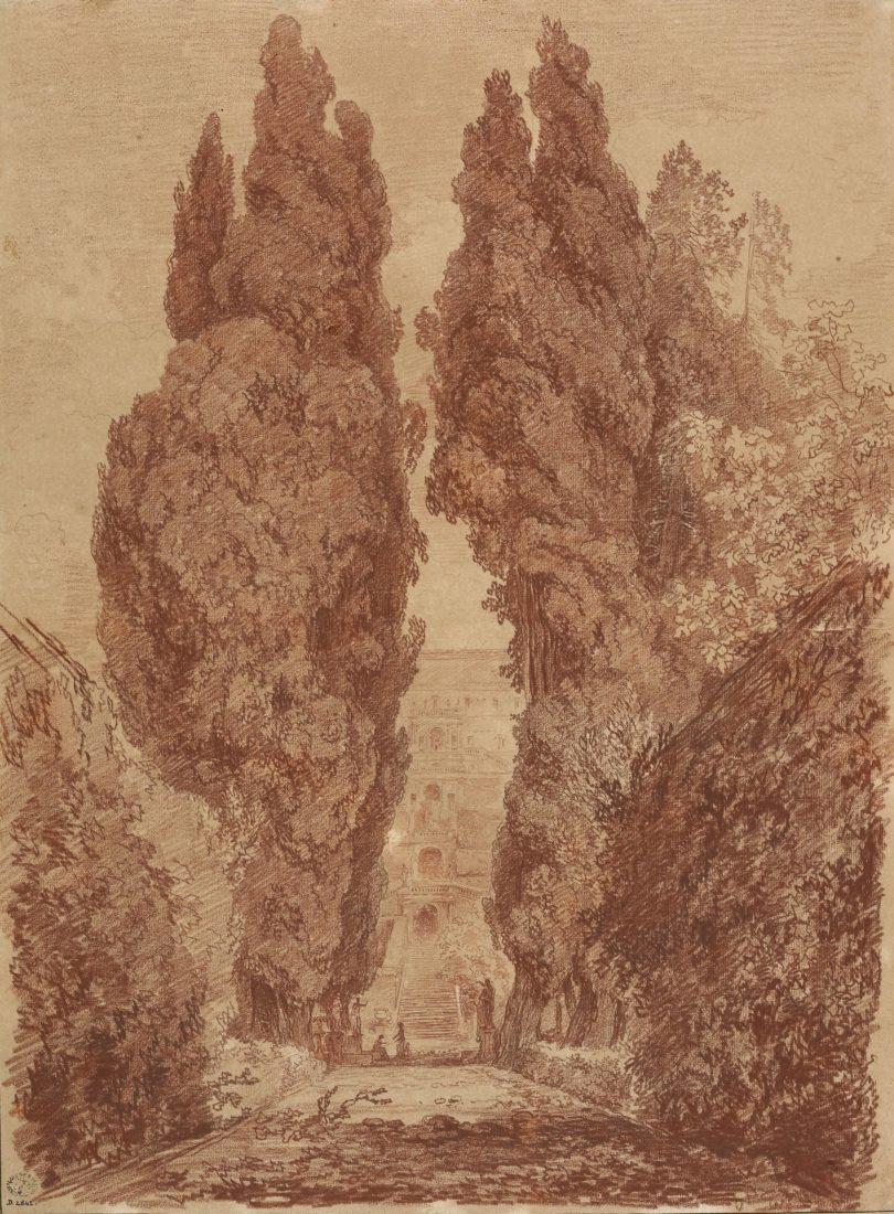 mbaa Besançon Jean-Honoré FRAGONARD, Les Grands Cyprès de la villa d'Este