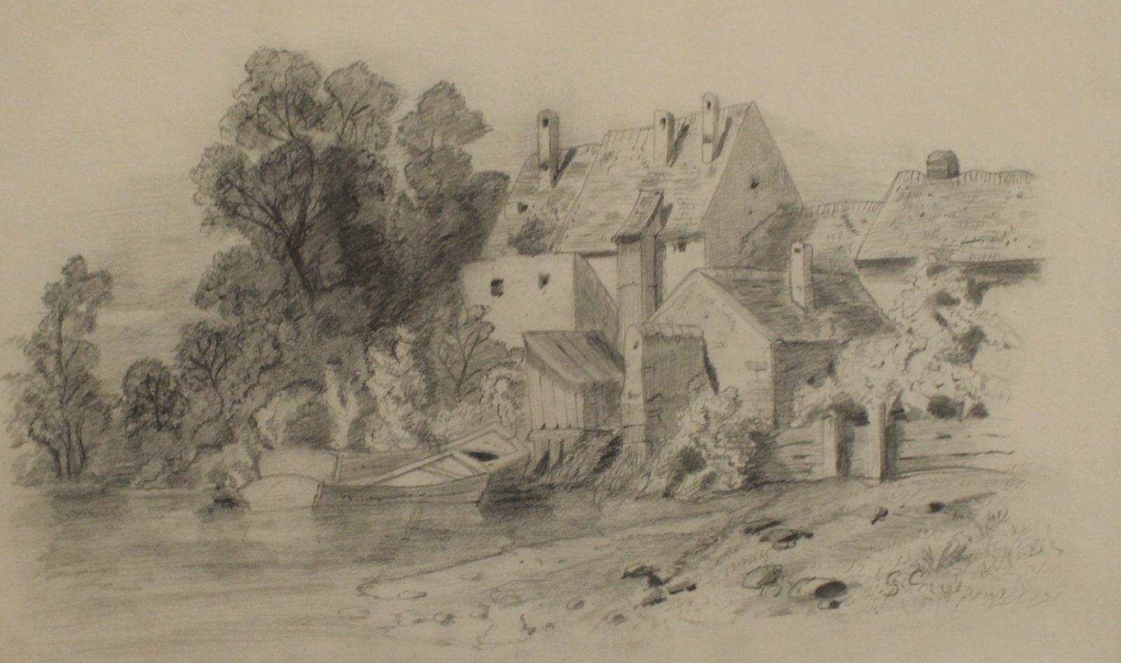 Maisons au bord de l'eau Gustave Courbet