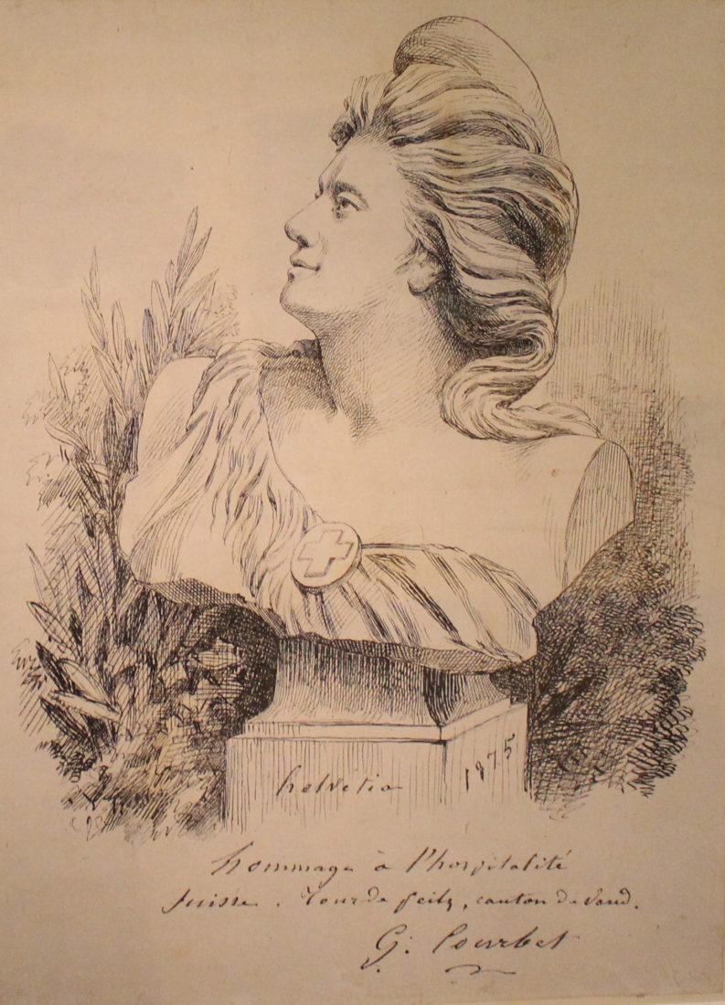 Helvetia, 1875. Lithographie. Courbet Musée Jenisch, Vevey.