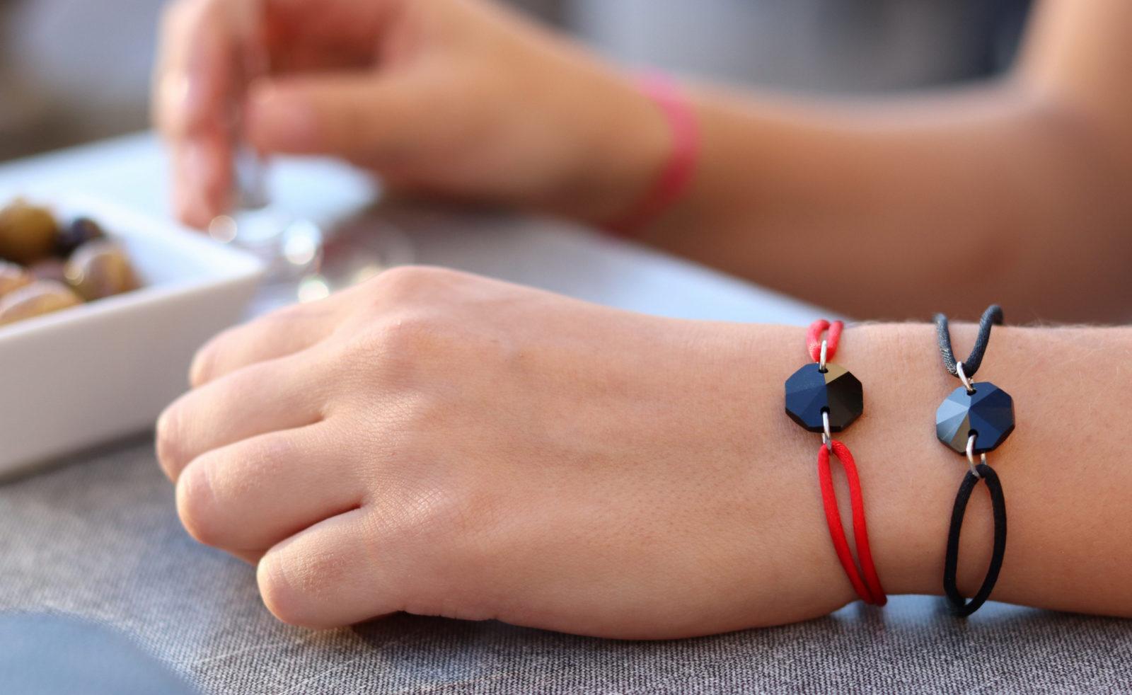 MV Vessiere Baccarat bracelet cristal noir et cristal rouge