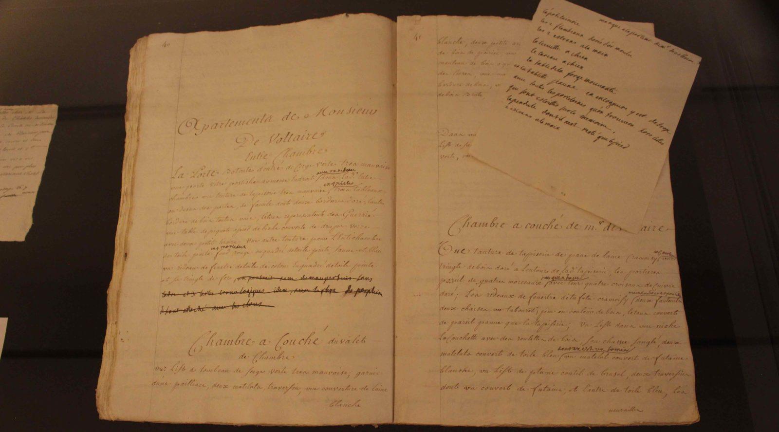 Voltaire chez lui Livre original : détail des chambres