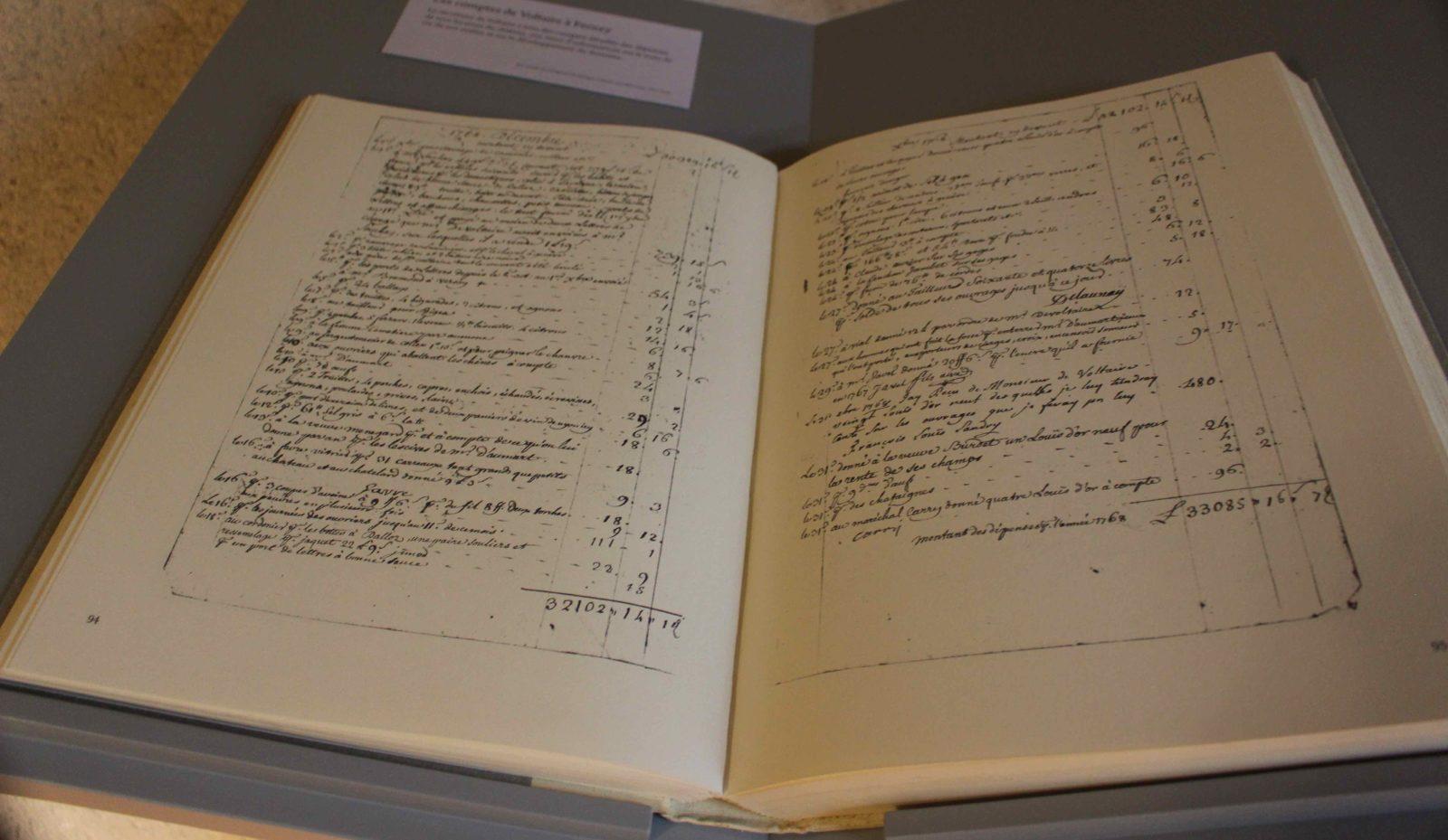 Voltaire chez lui Livre original : livre des comptes