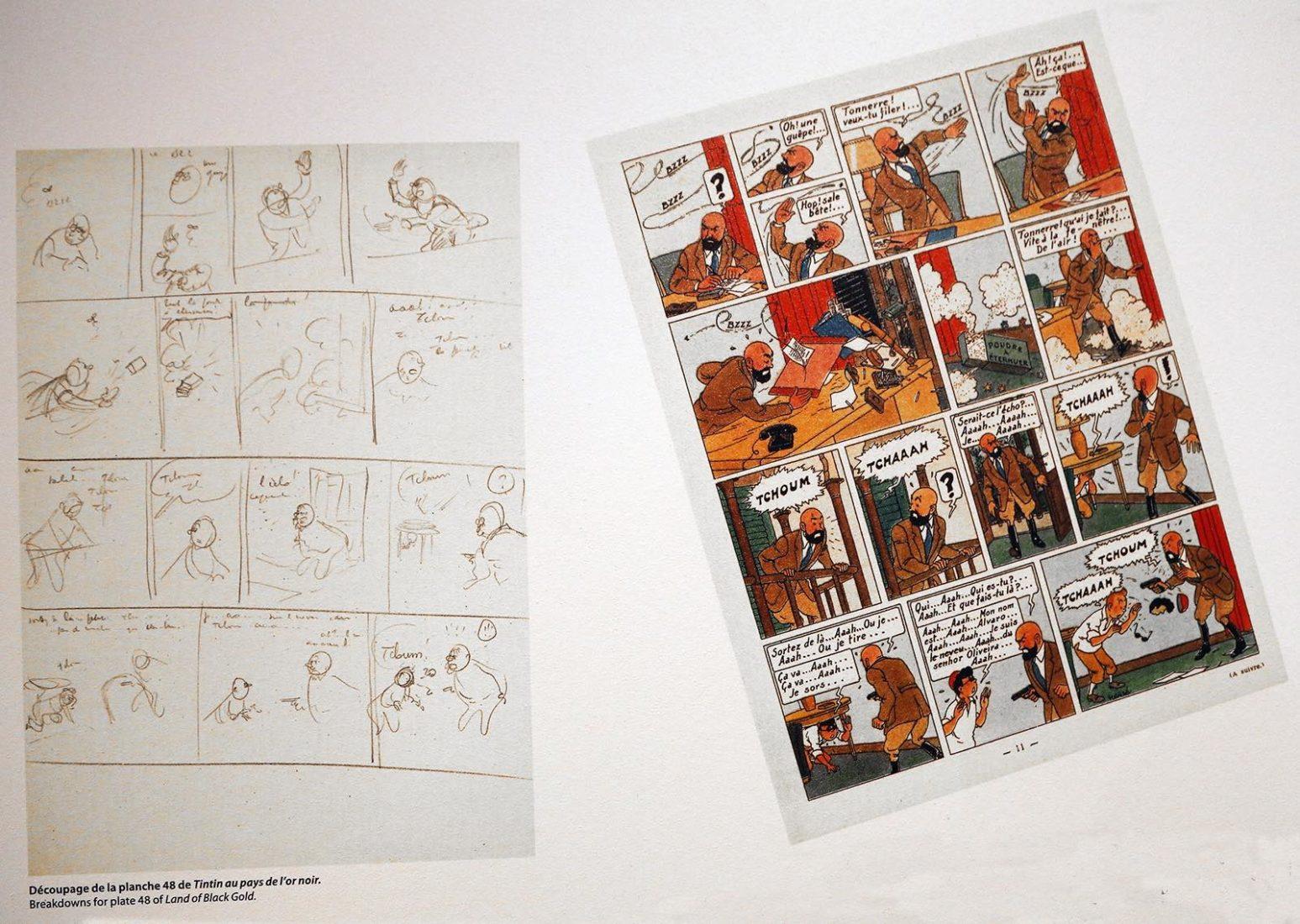 Tintin Découpage et Planche au pays de l'or noir