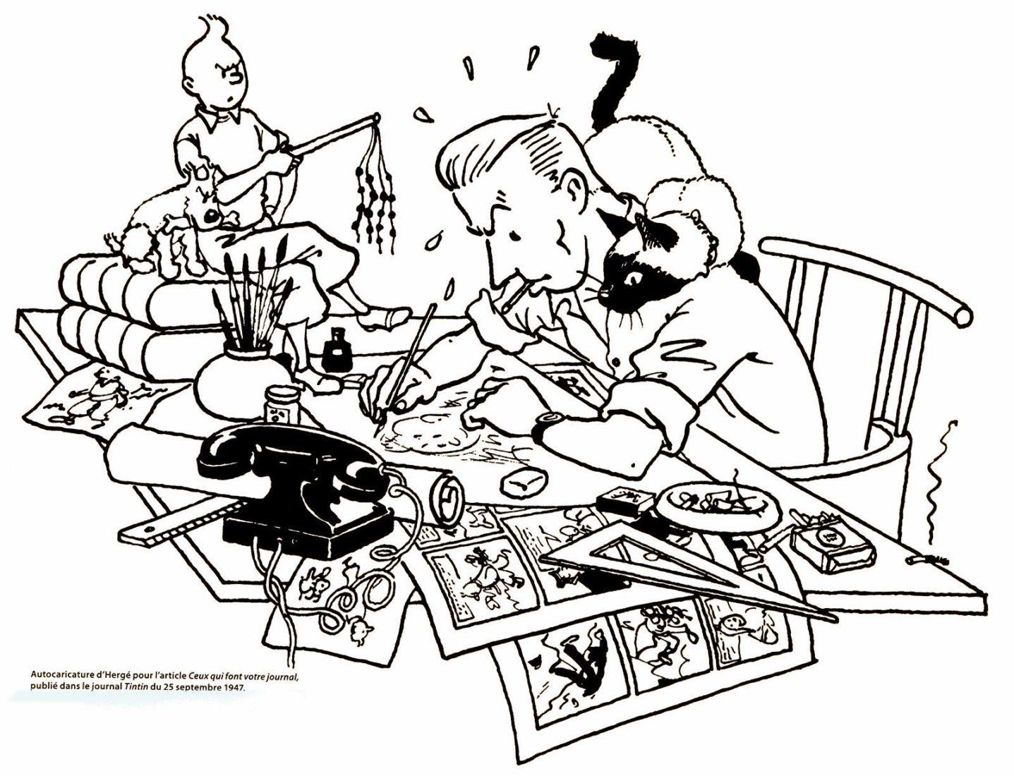 Tintin Hergé autocaricature