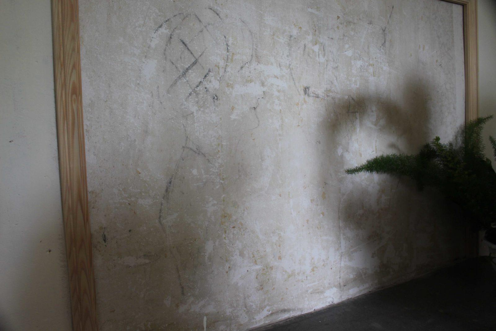 Monts-Boucons maison de Colette Besançon caricature sur le mur