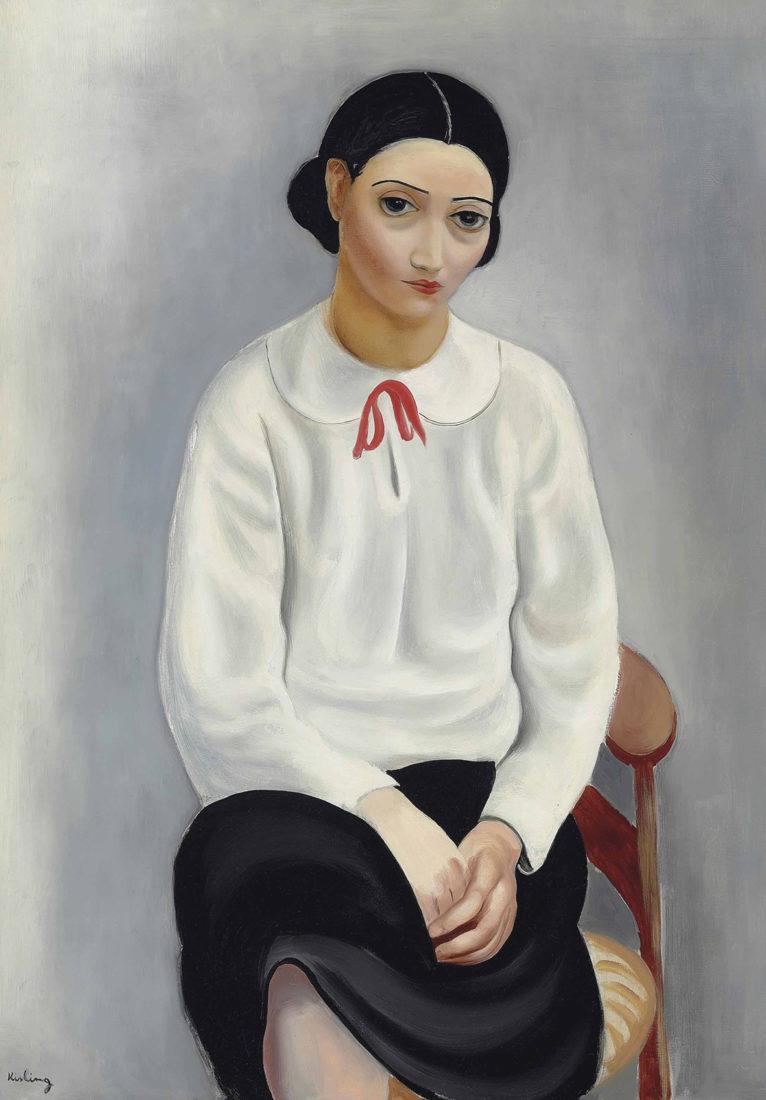 Le Cannet Kissling Portrait de femme au corsage blanc,