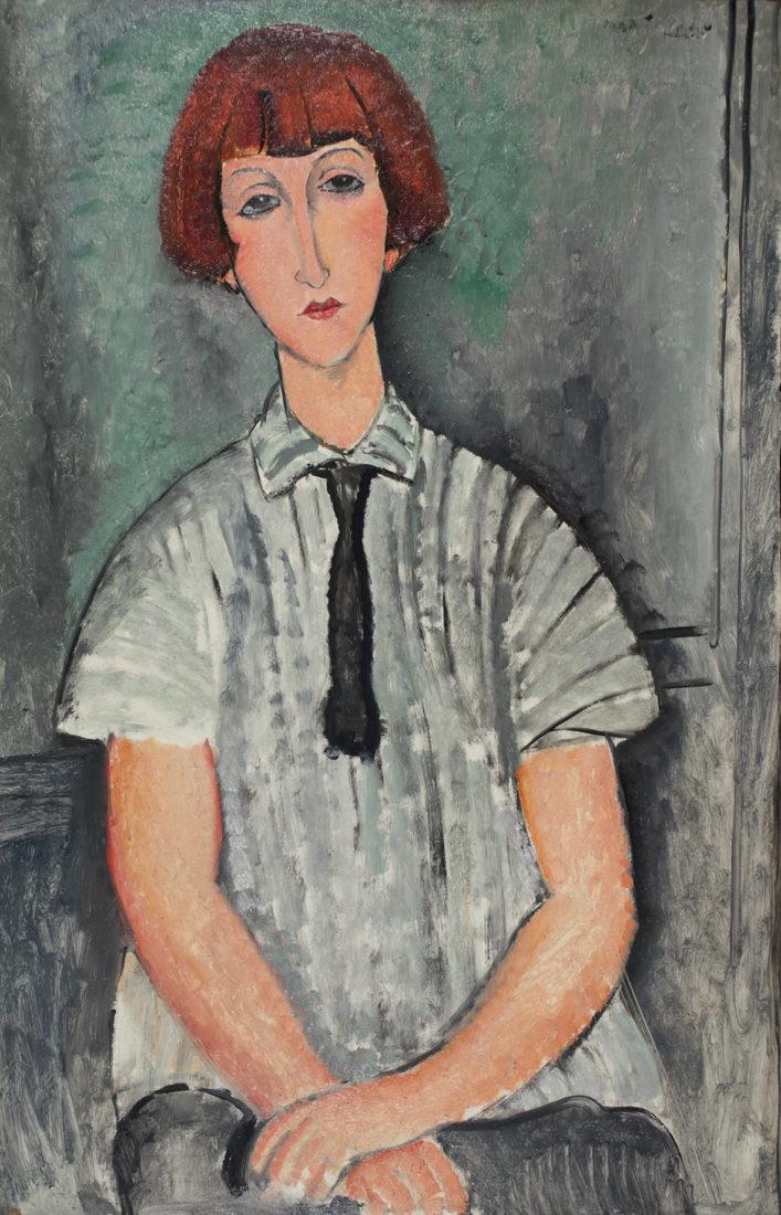 Le Cannet Modigliani, Jeune femme à la chemise rayée,