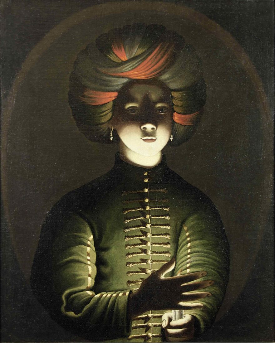 Wolfgang Heimbach Jeune fille au turban tenant une bougie