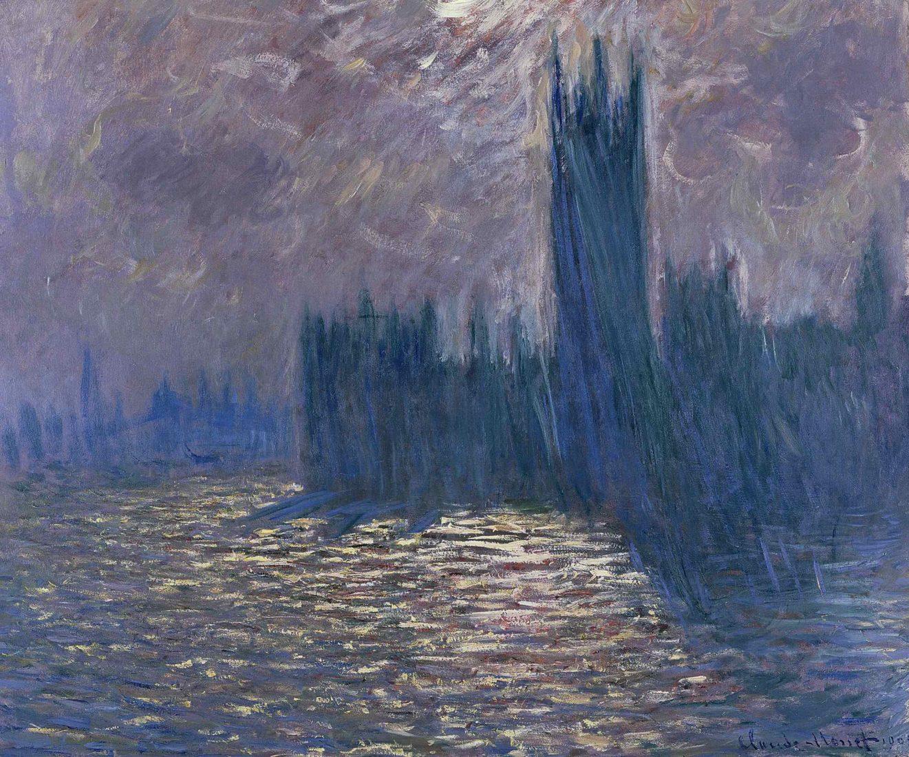Claude Monet Londres, le Parlement, reflets sur la Tamise