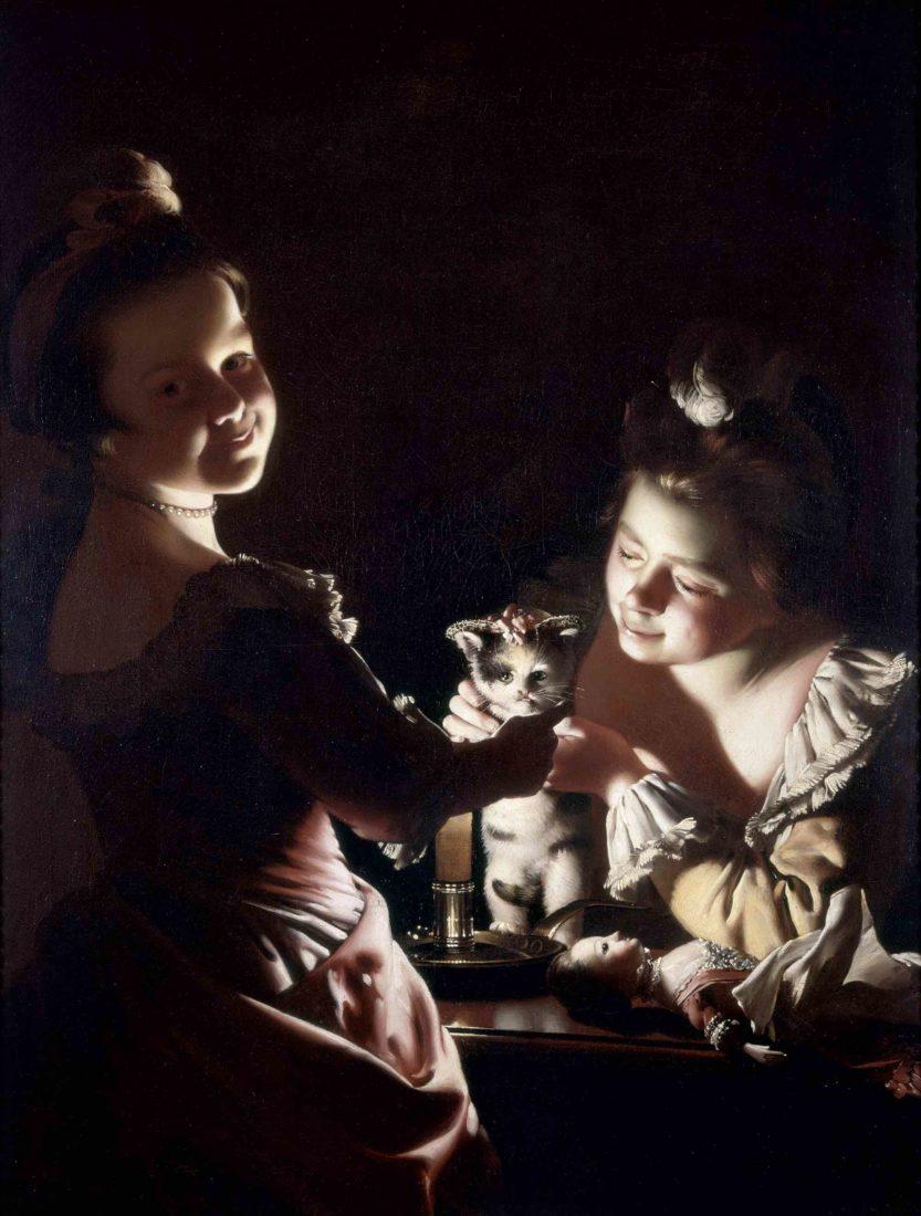 Joseph Wright of Derby Deux filles déguisant un chaton