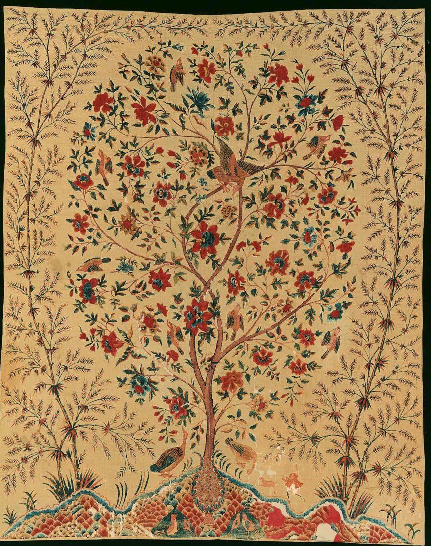 Tenture murale (palempore) avec arbre de vie, côte de Coromandel