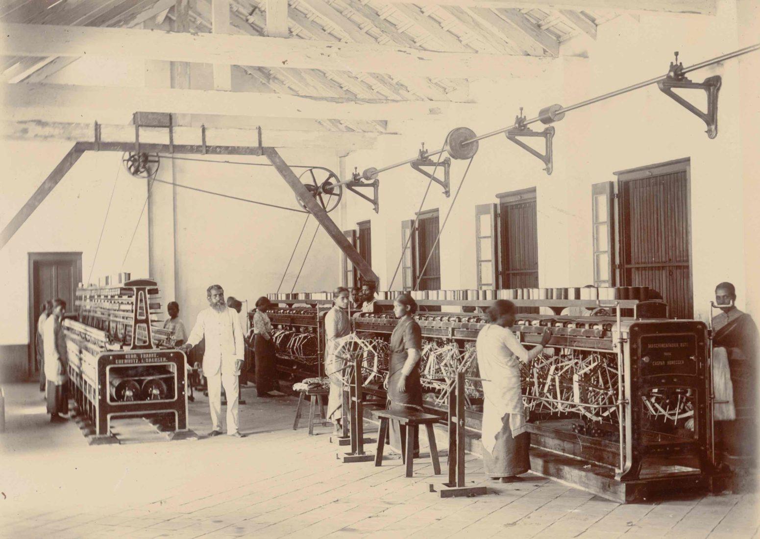 Fabrique de tissu à Calicut, fin du XIXe siècle