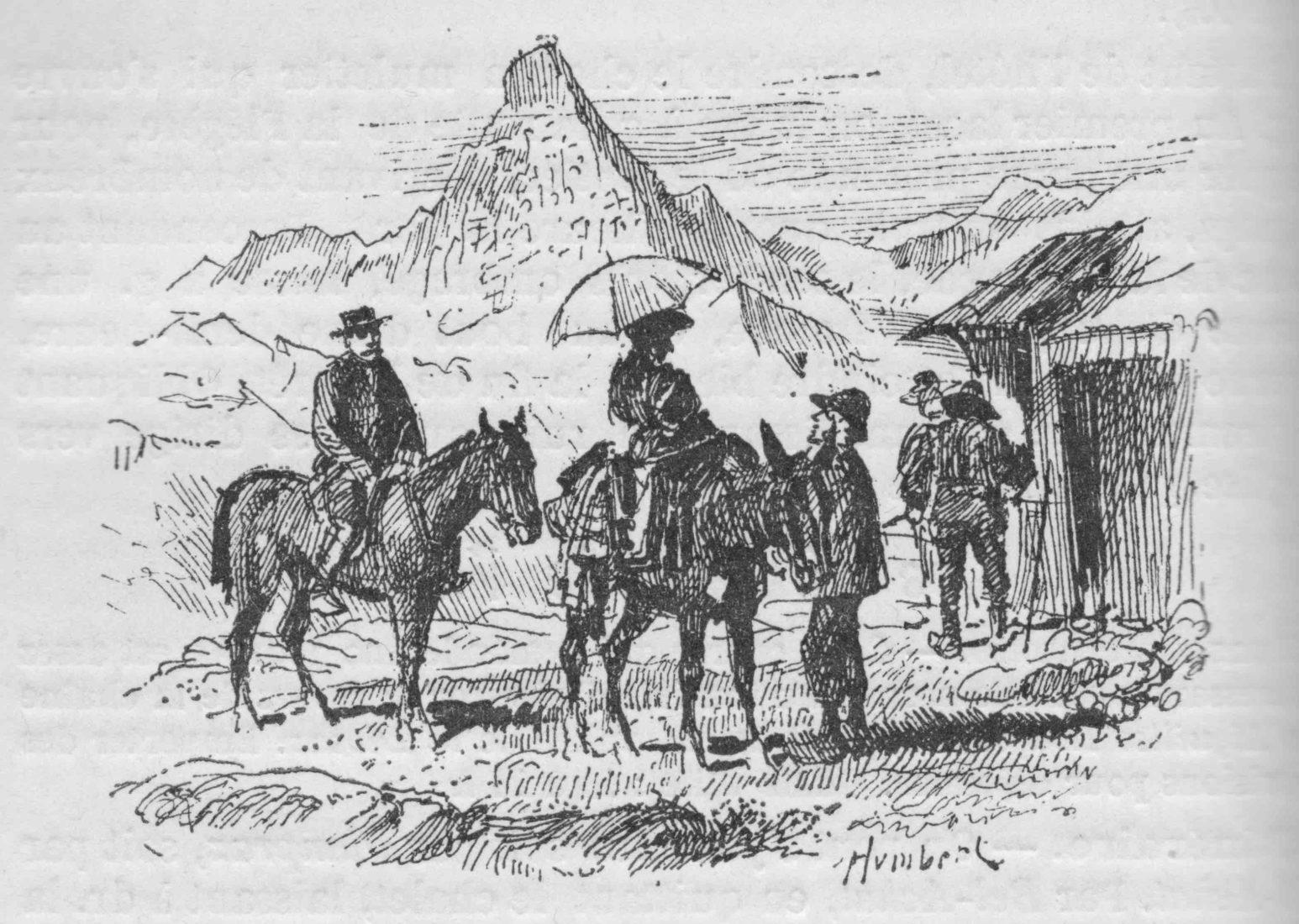 refuge du Plan de l'Aiguille - gravure ancienne mulets