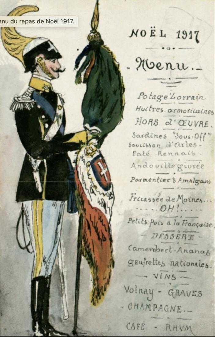 Archives municipales de Dijon menu noel 1917