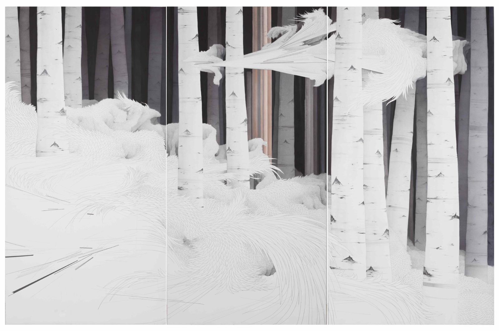 MIN Jung-yeon Fragment de l'installation Tissage