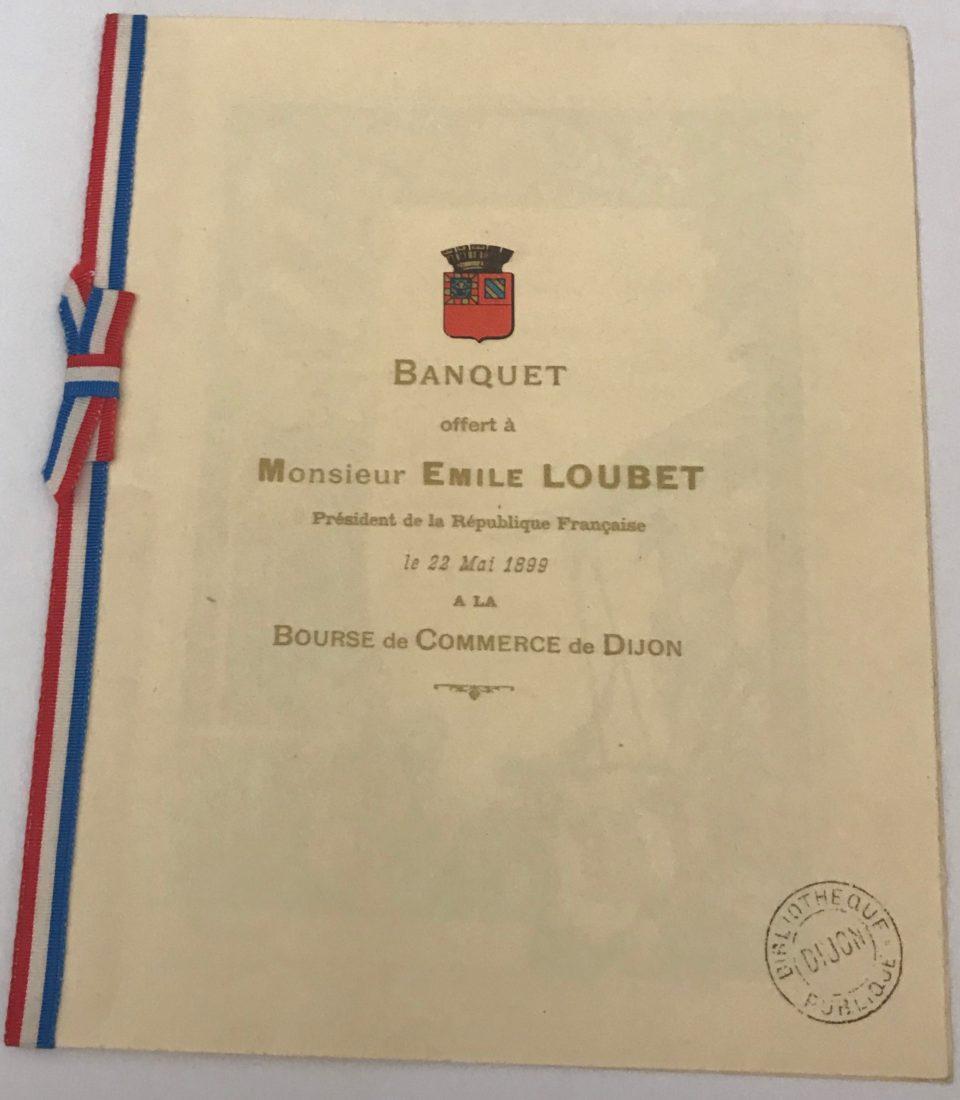 Archives municipales de Dijon menu banquet emile Loubet 1898