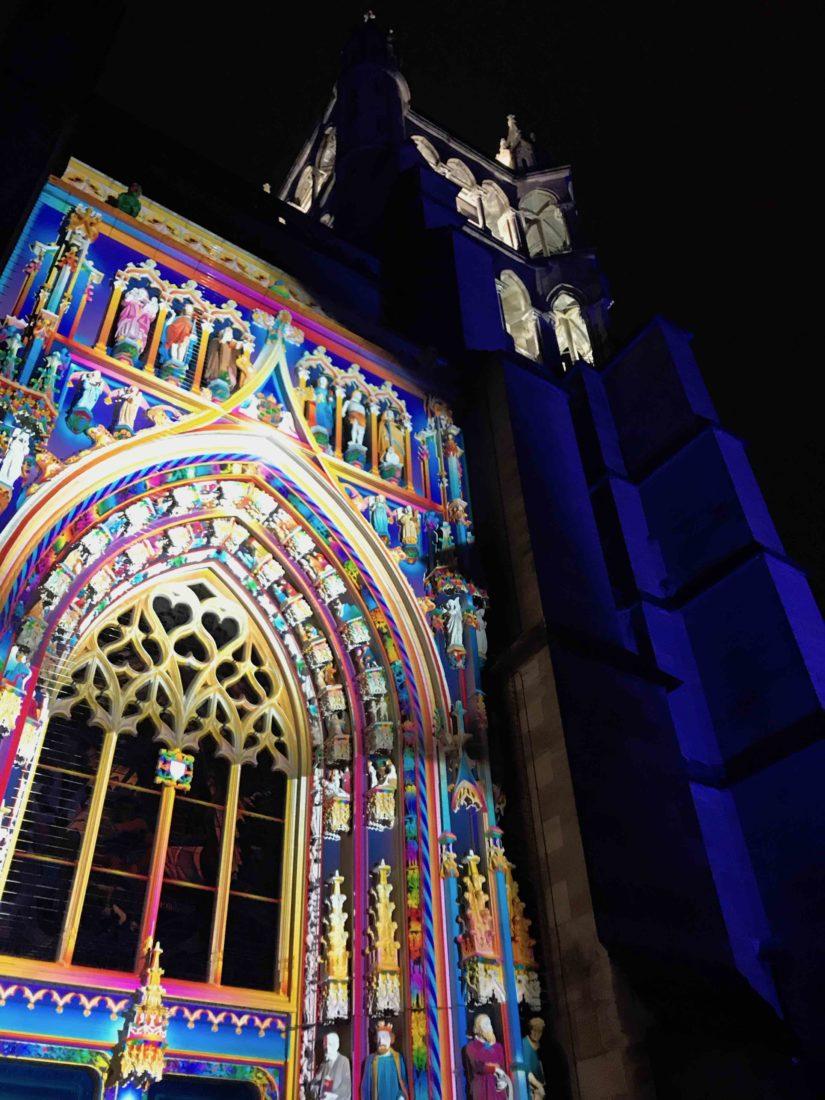 Festival Lausanne lumières 2019 Montfalcolor à la Cathédrale