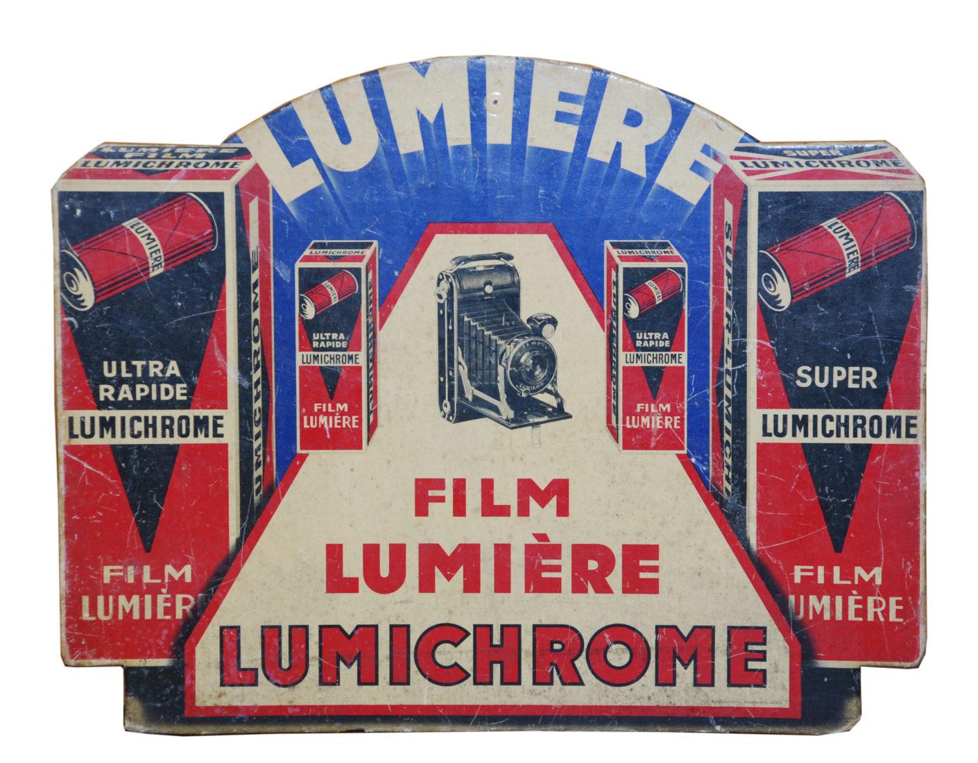 Evian exposition Lumièrepub carton Lumière_Film Lumière Lumichrome 28 x35cm