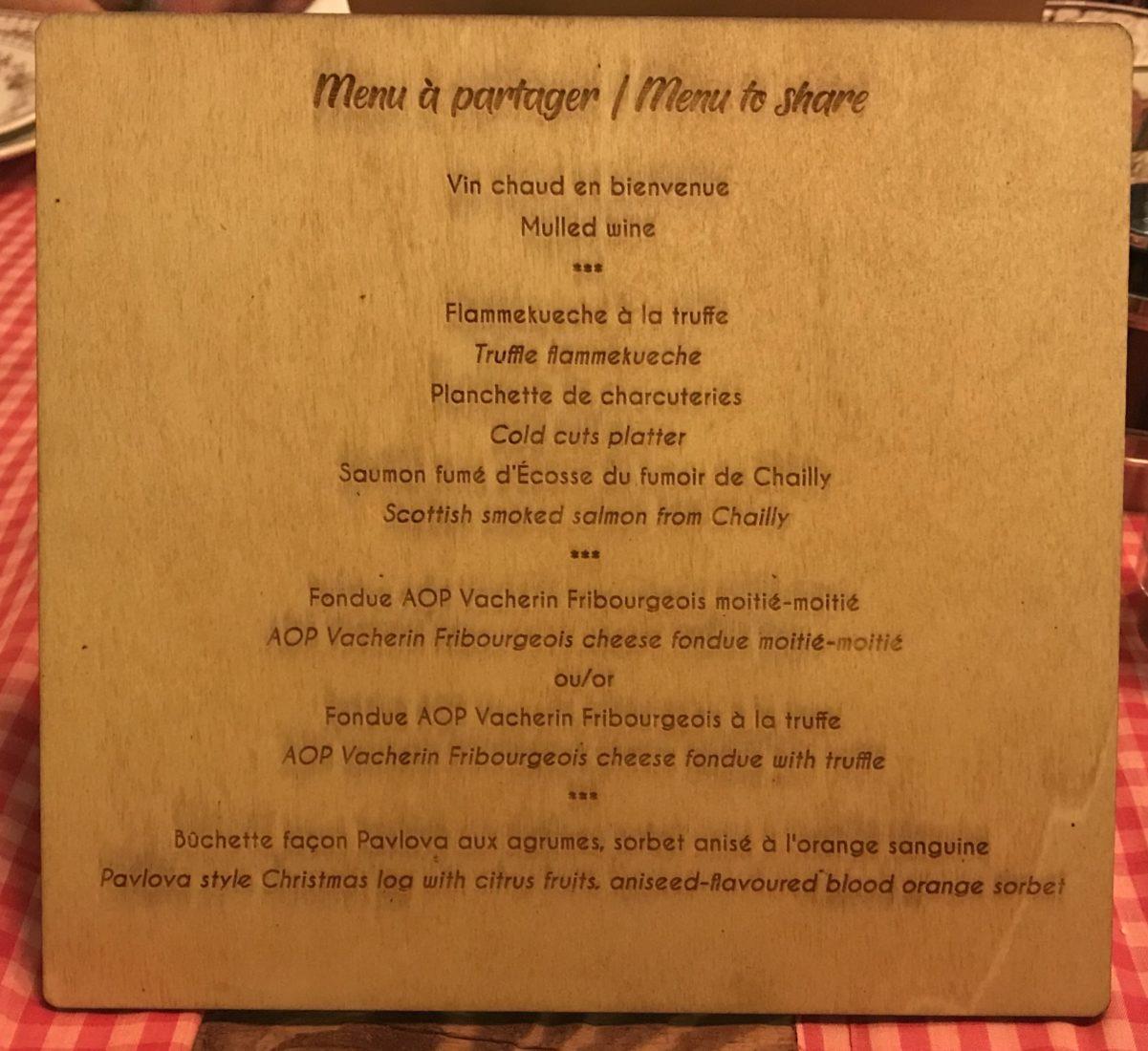 Fairmont Montreux Palace Jardin d'Hiver menu