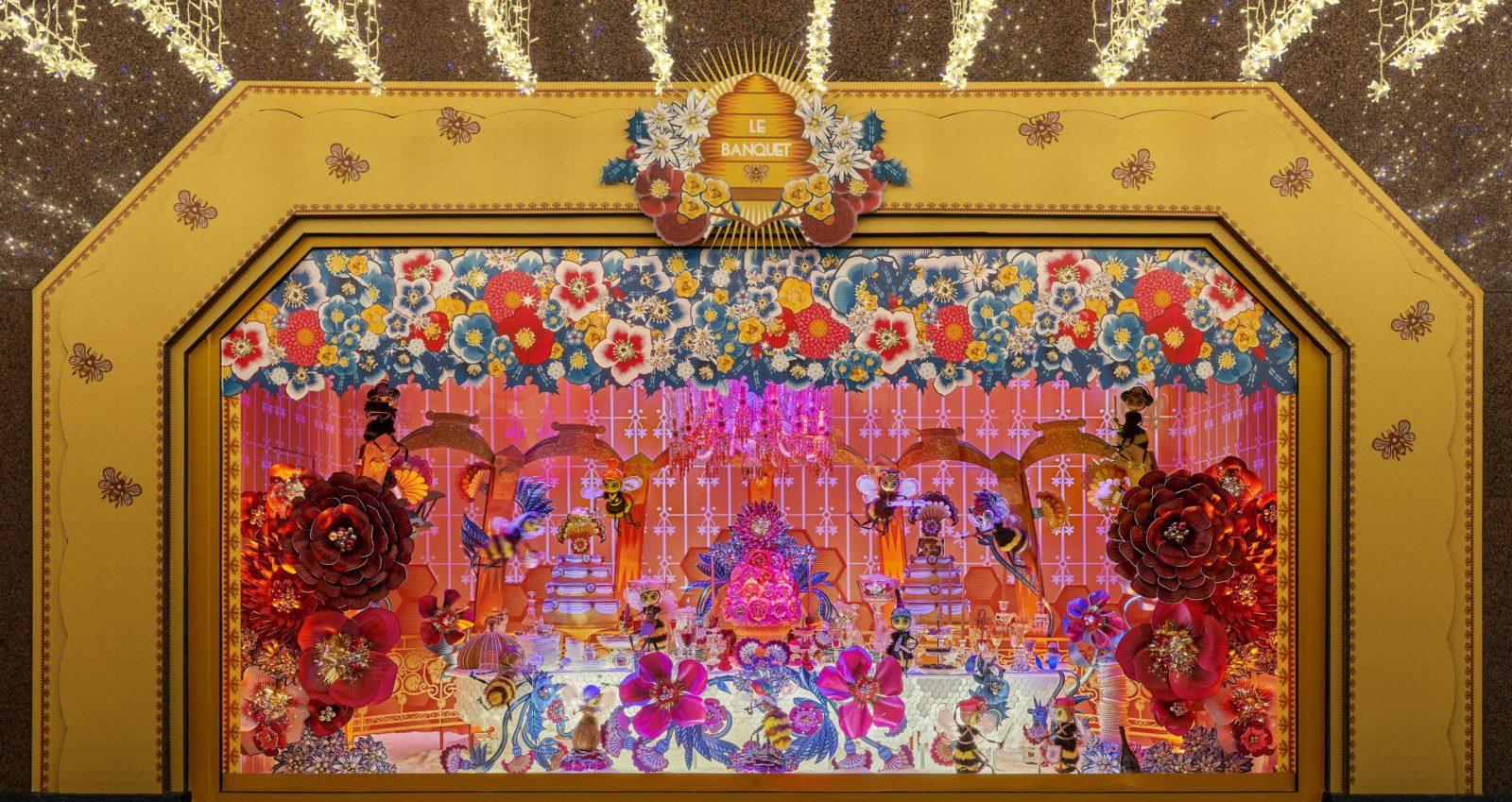 Galeries Lafayette Paris Haussmann Vitrine le banquet Noel 2019