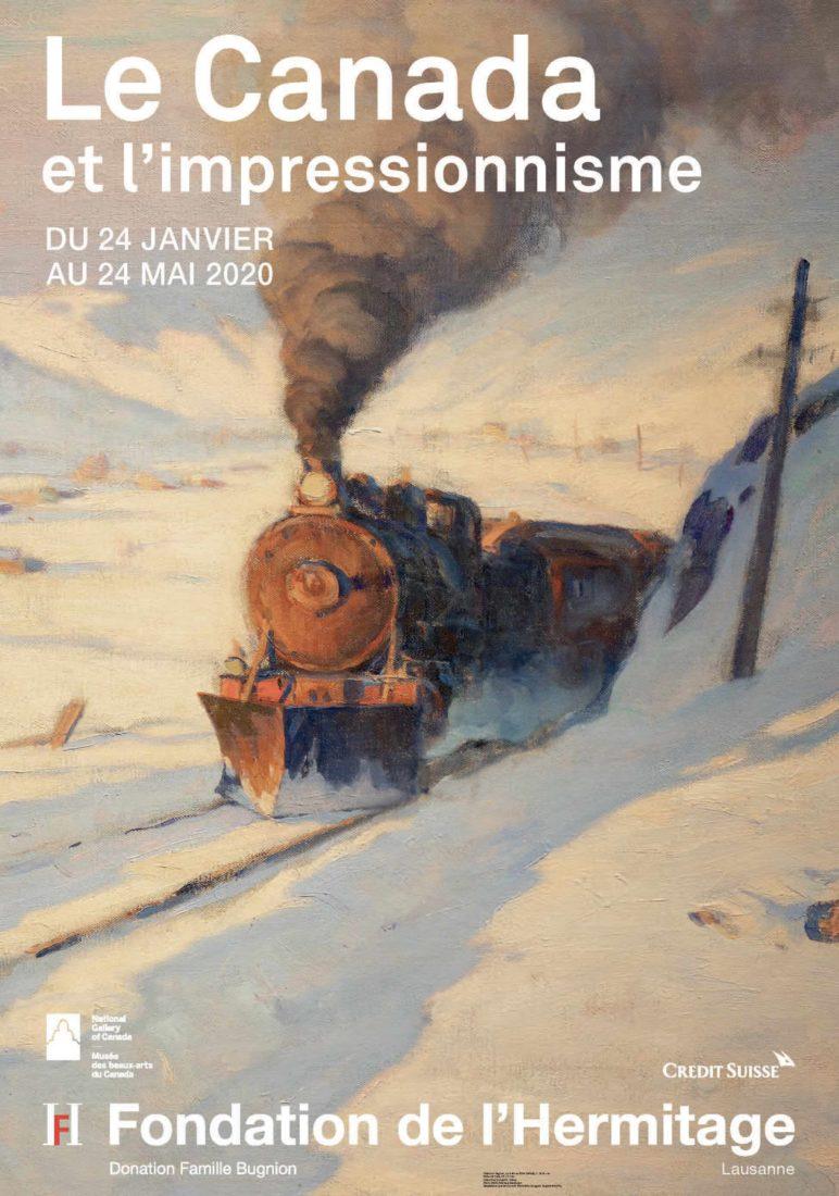 L'hermitage lausanne Affiche Clarence Gagnon – Le train en hiver